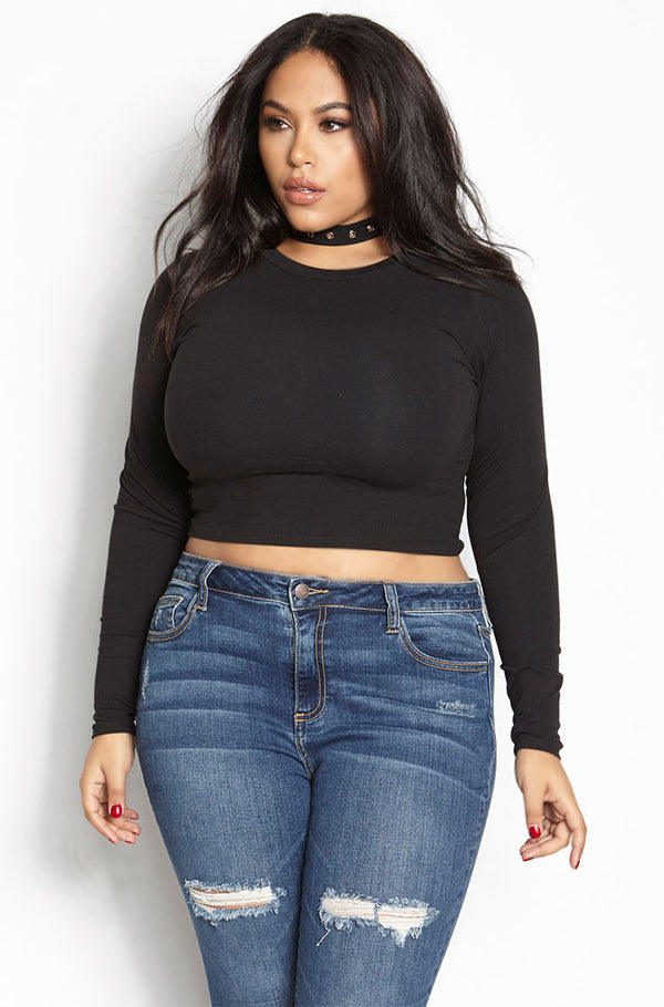 Black Essential Crew Neck Long Sleeve Crop Top plus sizes