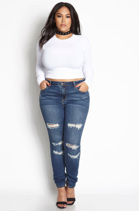 White Essential Crew Neck Long Sleeve Crop Top plus sizes