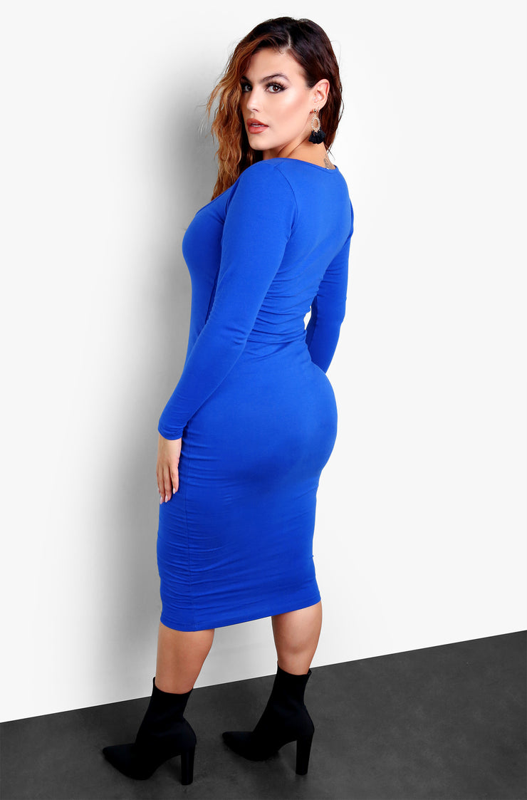 Royal Blue Long Sleeve Bodycon Midi Dress Plus Sizes