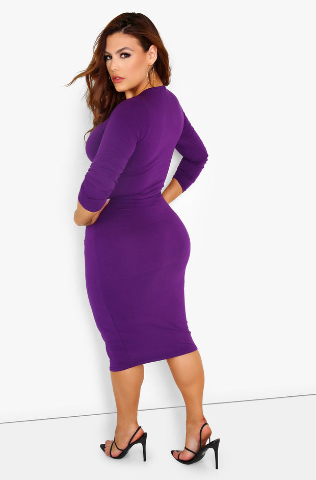 Purple Essential Long Sleeve Crew Neck Bodycon Midi Dress Plus Size