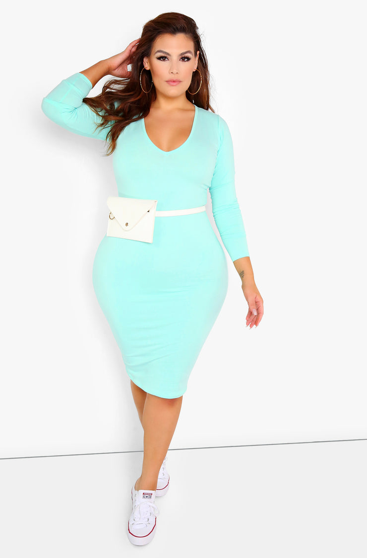 Mint Essential Long Sleeve V-Neck Bodycon Midi Dress Plus Sizes