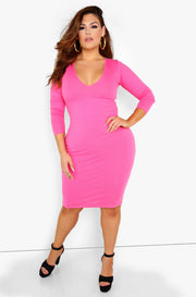 Pink Essential Long Sleeve V-Neck Bodycon Midi Dress Plus Sizes