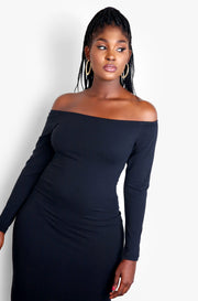 Black Long Sleeve Bodycon Midi Dress Plus Sizes