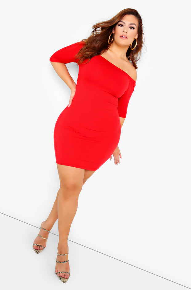Red Essential Over The Shoulder Mini Dress Plus Size
