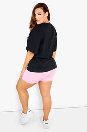 Black Graphic Crew Neck T-Shirt Plus Size