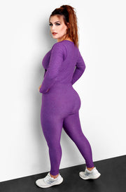 Purple Plunge Long Sleeve Bodycon Plus Size Jumper
