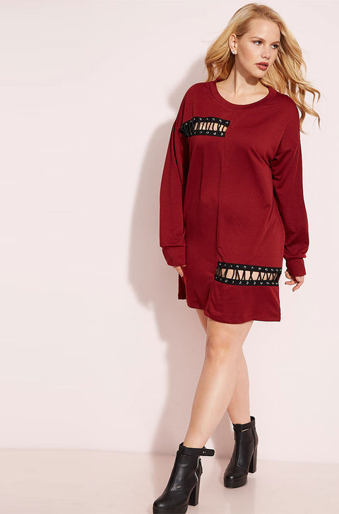 Burgundy Lace-Up Shirt Mini Dress plus sizes