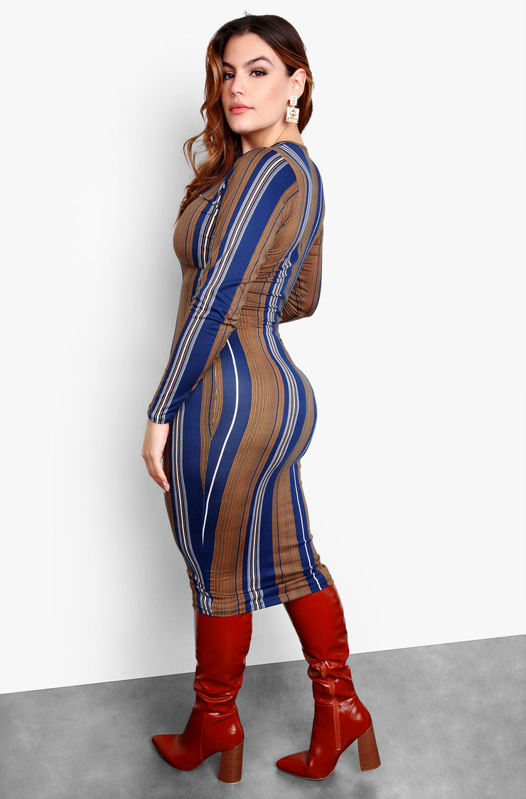 Blue Plus Size Square Neck Long Sleeve Striped Bodycon Midi Dress