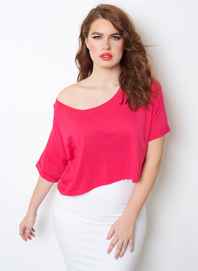 Fuschia Relaxed Fit Crop Top plus sizes