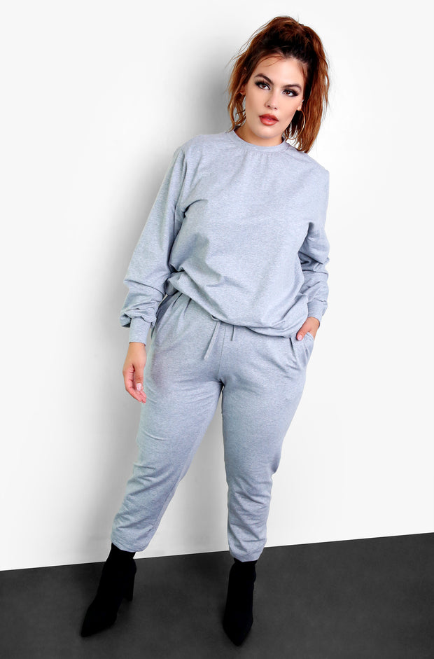 Gray Long Sleeve Crew Neck Top & High Waisted Joggers Plus Size Loungewear Set