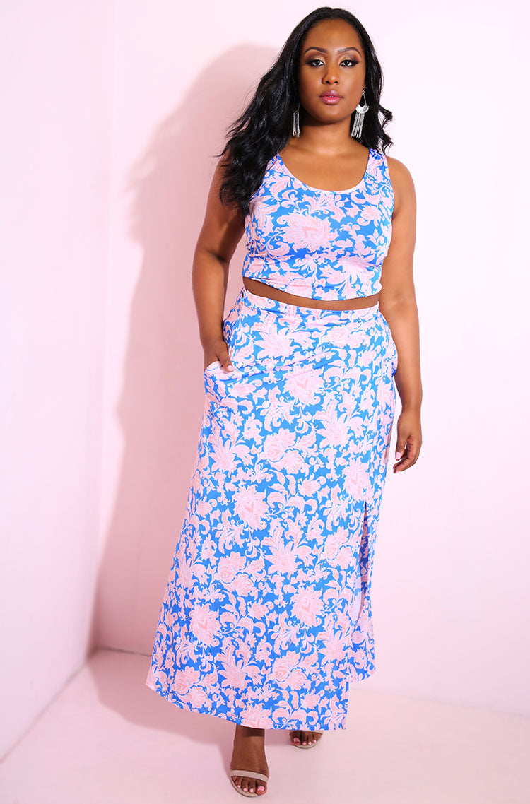 Pink Wrap Around Skater Maxi Skirt plus sizes