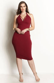 Burgundy Caged Bust Bodycon Midi Dress plus sizes