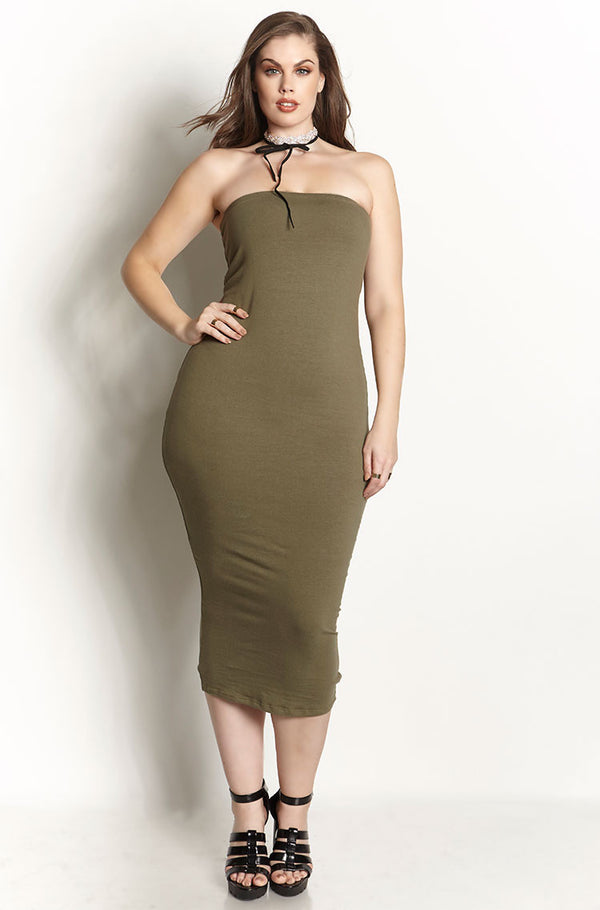 Olive Essential Strapless Bodycon Midi Dress plus sizes