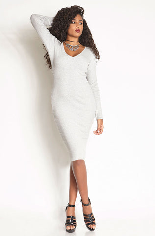 Rebdolls Essential 3/4 Sleeve V-Neck Midi Dress - Heathered Gray - FINAL SALE