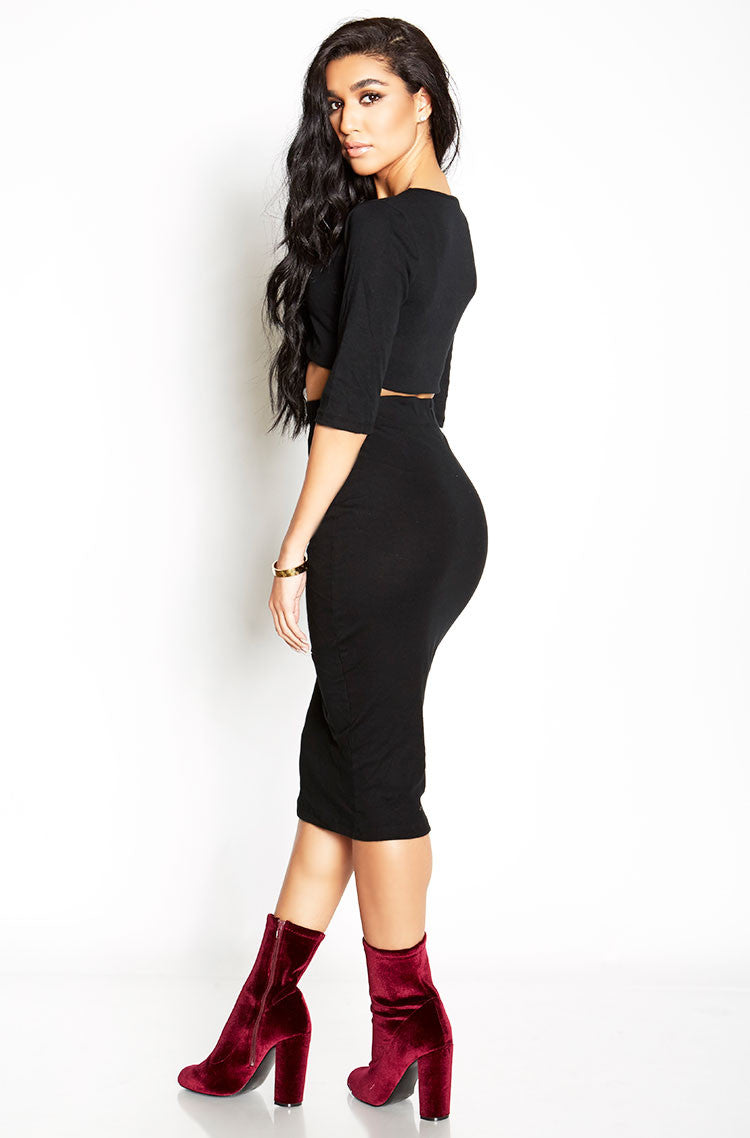 Black Ribbed Bodycon Midi Skirt Plus Sizes
