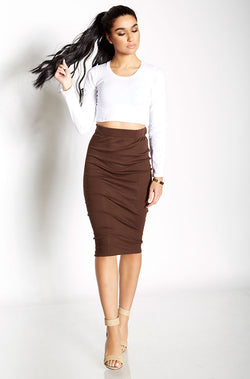 Brown Ribbed Bodycon Midi Skirt Plus Sizes