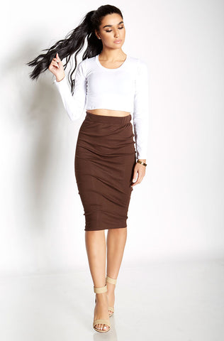 Rebdolls Essential Cotton Midi Skirt - Dark Nude FINAL SALE