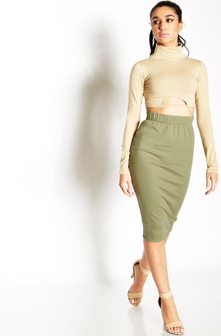 Olive Ribbed Bodycon Midi Skirt Plus Sizes