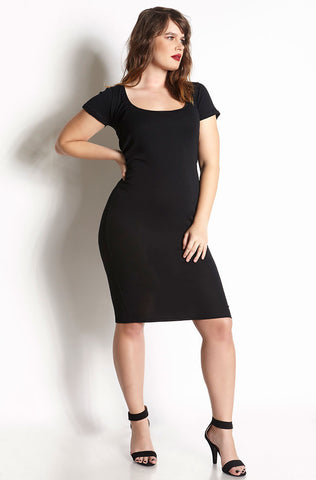 Rebdolls Essential Short Sleeve Crew Neck Midi Dress - Black