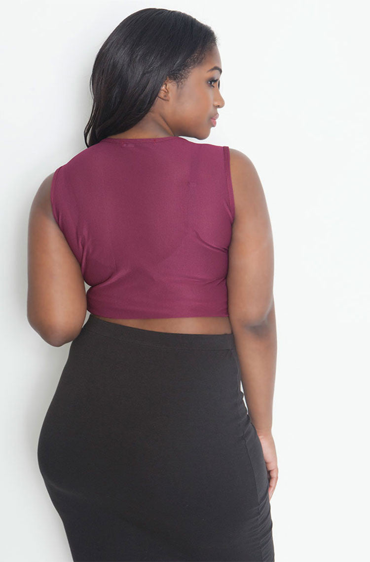 Burgundy Sleeveless Fishnet Crop Top plus sizes