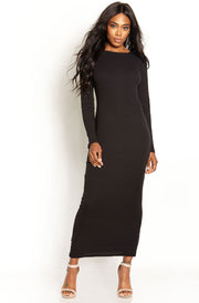 Black Ribbed Bodycon Maxi Dress plus sizes