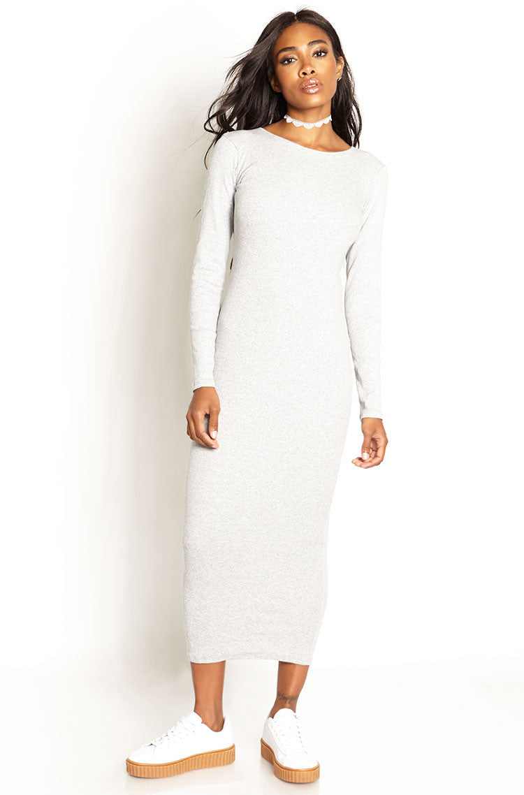Gray Ribbed Bodycon Maxi Dress plus sizes