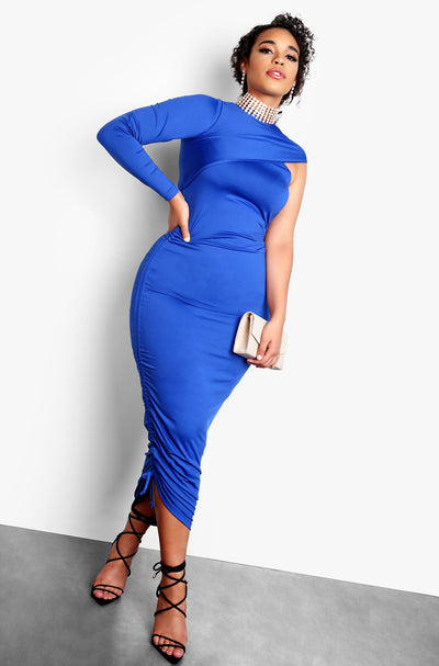 Royal Blue One Shoulder Bodycon Plus Size Midi Dress