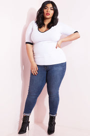 White Ringer V-Neck Top plus sizes