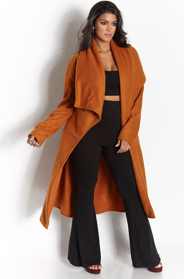 Dark Orange Waterfall Fleece Coat plus sizes