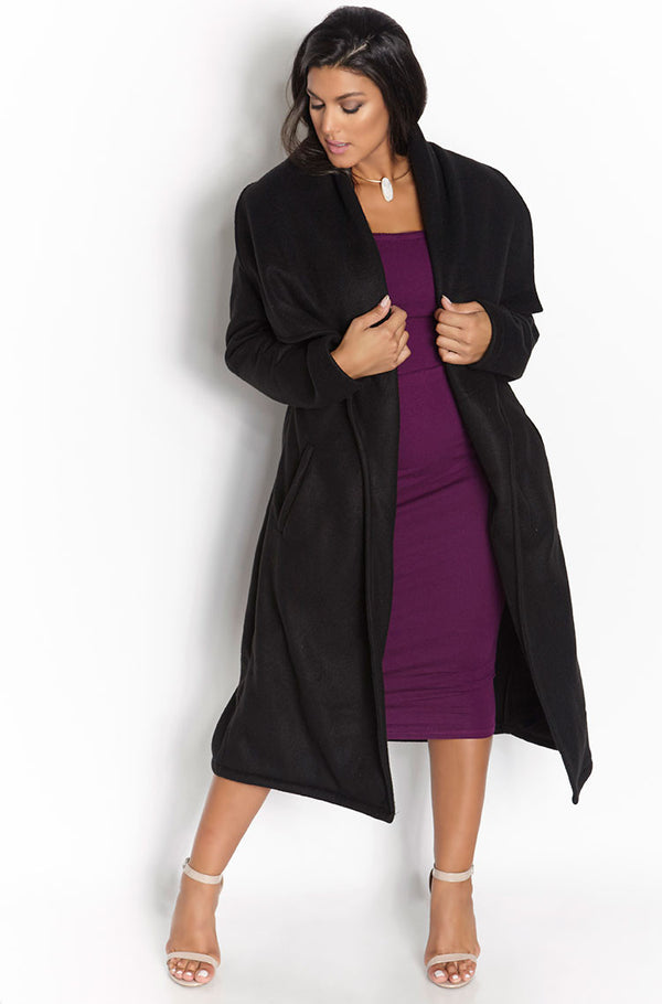Black Waterfall Fleece Coat plus sizes