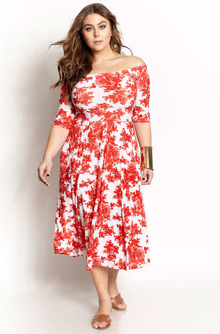 "Rebdolls ""Flower Specs"" Long Sleeve Midi Dress"
