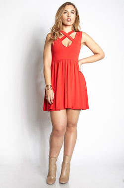 Red Caged Skater Mini Dress plus sizes