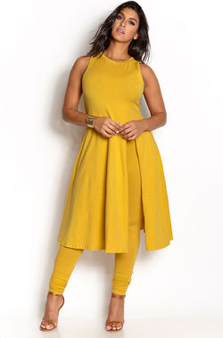 Mustard Two Piece Pant Set plus sizes