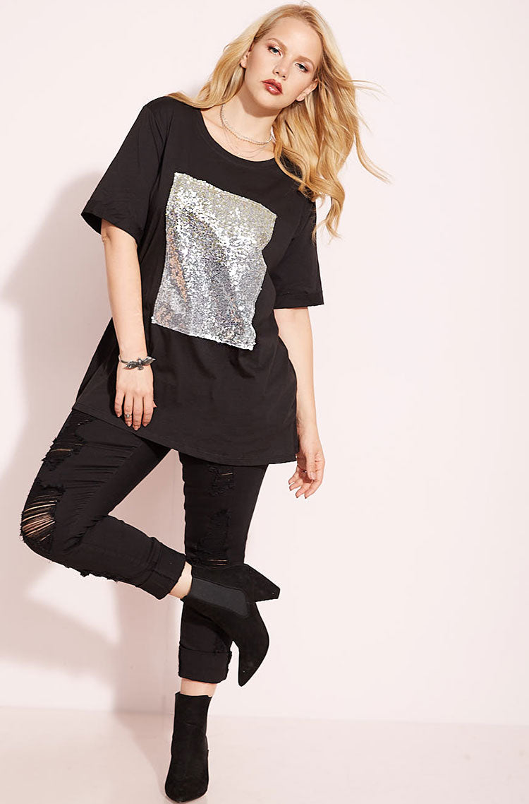 Black Sequin Detailed Tee plus sizes