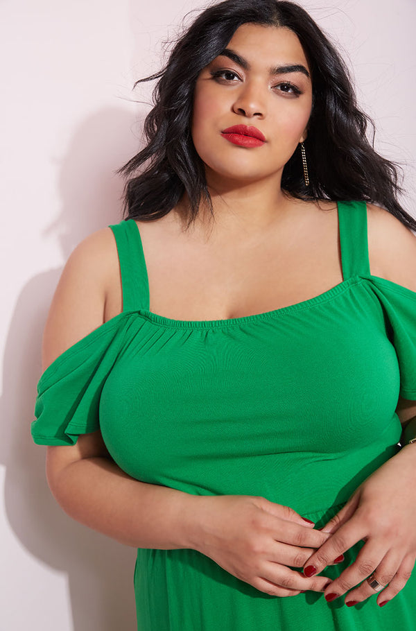 Green Over The Shoulder Maxi Dress plus sizes