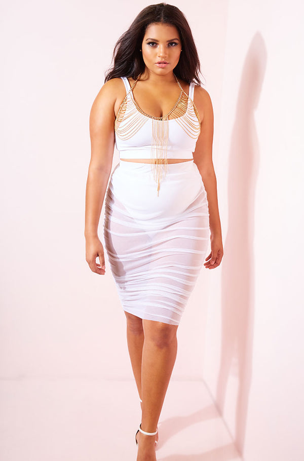 White Sheer Ruched Bodycon Mini Skirt Plus Sizes