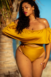 Mustard Over The Shoulder Ruffled Swimsuit Top Plus Sizes