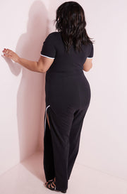 Black Side Slit Pants plus sizes