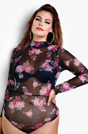 Plus Size Polka Dot and Floral Mesh Long Sleeve Bodysuit