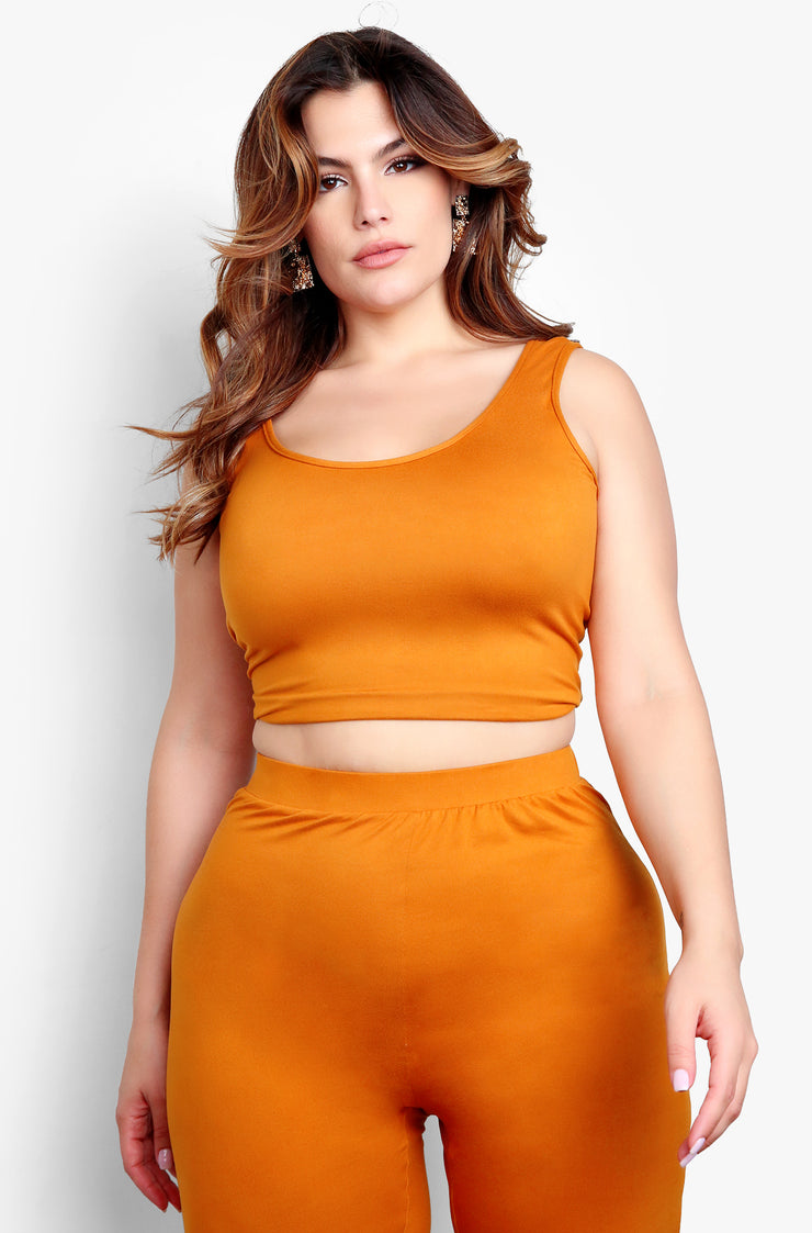 Camel Plus Size Tank Top & Matching High Waisted Pant Set