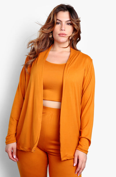 Camel Plus Size Long Sleeve Cardigan