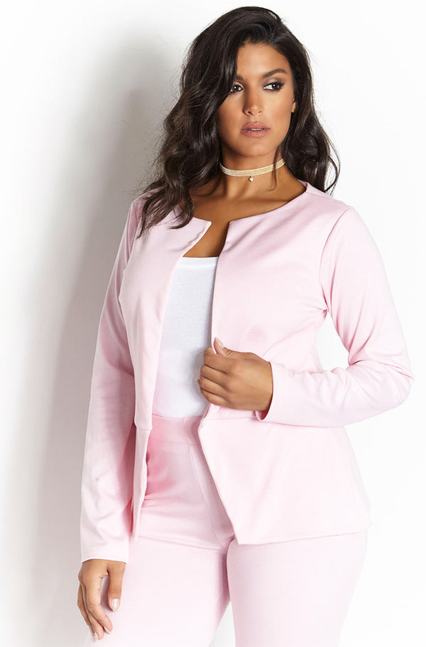 Pink Ponte Blazer Plus Sizes