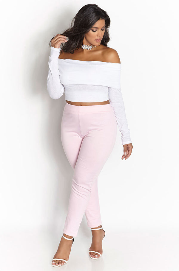 Pink  Ponte Cigarette Pants Plus Sizes