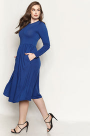 Blue Skater Midi Dress With Pockets plus sizes