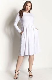 White Skater Midi Dress With Pockets plus sizes