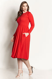 Red Skater Midi Dress With Pockets plus sizes