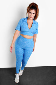 Sky Blue Zip Up Collar Short Sleeve Top & High Waisted Leggings Plus Size Set