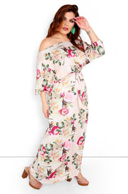 Pale Pink Floral Drop Shoulder Maxi Dress Plus Size