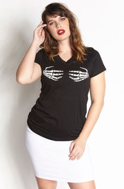 Black V-Neck T-Shirt plus sizes