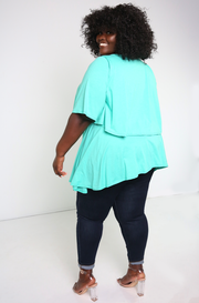 Turquoise Ruffled Top Plus Sizes